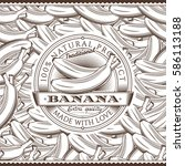 vintage bananas label on... | Shutterstock .eps vector #586113188
