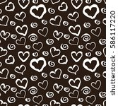 black and white grunge hearts... | Shutterstock .eps vector #586117220