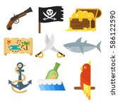 treasures pirate adventures toy ... | Shutterstock .eps vector #586122590