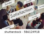 diverse people satisfaction... | Shutterstock . vector #586124918