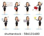 businesswoman working poses.... | Shutterstock .eps vector #586131680