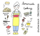 lovely woman with apron and... | Shutterstock .eps vector #586136066