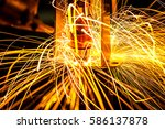 motion welding robots in a car... | Shutterstock . vector #586137878