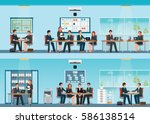 office worker with office desk... | Shutterstock .eps vector #586138514