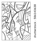 cubist faces fun coloring page... | Shutterstock .eps vector #586143638