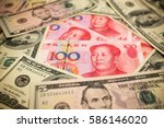 chinese yuan note and u.s.... | Shutterstock . vector #586146020