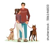Stock vector young people guy and girl talking stood in a friendly hug while walking their dogs vector 586146833