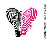 Zebra Head  Black And Pink...