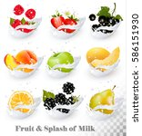 big collection of fruit in a... | Shutterstock .eps vector #586151930