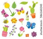 spring pattern character design   Shutterstock .eps vector #586160240