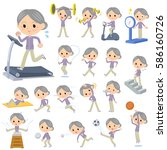 set of various poses of purple... | Shutterstock .eps vector #586160726