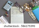 accountant verify the saving...   Shutterstock . vector #586175390