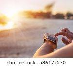 smart watch woman using... | Shutterstock . vector #586175570