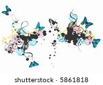 illustration of butterflies and ... | Shutterstock .eps vector #5861818