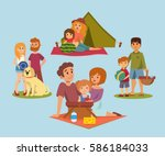 picnic setting with fresh food... | Shutterstock .eps vector #586184033