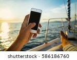 summer leisure. rest on a yacht ... | Shutterstock . vector #586186760