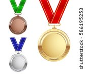 set of gold  silver and bronze... | Shutterstock .eps vector #586195253