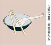 bowl  chopsticks and spoon.... | Shutterstock .eps vector #586195514
