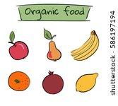 set of hand drawn color fruit... | Shutterstock .eps vector #586197194