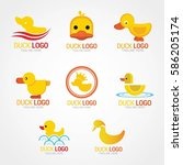 duck logo design template.... | Shutterstock .eps vector #586205174