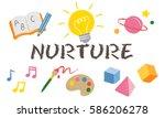 children learning nurture... | Shutterstock . vector #586206278