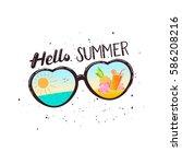 heart shaped sunglasses... | Shutterstock .eps vector #586208216