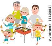 illustration of family enjoying ... | Shutterstock .eps vector #586208894