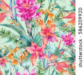 watercolor vintage floral... | Shutterstock . vector #586209920