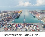 landscape sea ports on day time ...   Shutterstock . vector #586211450