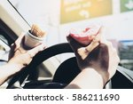 man eating donuts and potato...   Shutterstock . vector #586211690