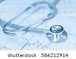 stethoscope on... | Shutterstock . vector #586212914