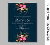 peony floral wedding invitation ... | Shutterstock .eps vector #586213814