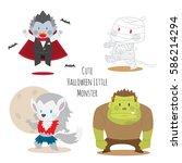 cute halloween monsters set... | Shutterstock .eps vector #586214294