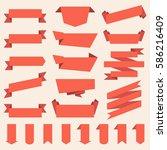set of orange badges   labels... | Shutterstock .eps vector #586216409