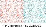 set of two seamless floral and... | Shutterstock .eps vector #586220018