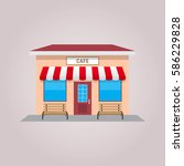 cafe shop building front... | Shutterstock .eps vector #586229828