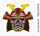 samurai head with sadness pale... | Shutterstock .eps vector #586230548
