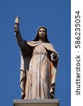 Small photo of SHKODER, ALBANIA - SEPTEMBER 30: Saint Clare of Assisi statue on St Stephen's Cathedral in Shkoder, Albania on September 30, 2016.