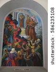 Small photo of SHKODER, ALBANIA - SEPTEMBER 30: Frescoes that depict the persecution of religion in socialist Albania, St Stephen's Cathedral in Shkoder, Albania on September 30, 2016.