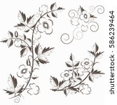 retro floral background with... | Shutterstock . vector #586239464