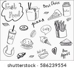 vector food doodles set on... | Shutterstock .eps vector #586239554