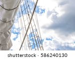 mast  sails and shroud of a... | Shutterstock . vector #586240130