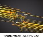 orange arrows on dark... | Shutterstock .eps vector #586242920