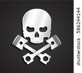 3d silver metal skull with... | Shutterstock .eps vector #586244144