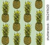 seamless pattern  pineapple on... | Shutterstock .eps vector #586245620