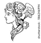 vector illustration of hermes.... | Shutterstock .eps vector #586246994