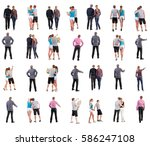 collection back view of walking ... | Shutterstock . vector #586247108