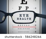 eye test chart and eyeglasses.... | Shutterstock . vector #586248266