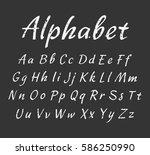 vector handwritten alphabet.... | Shutterstock .eps vector #586250990