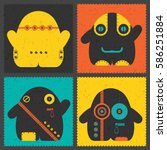set of four retro postage s... | Shutterstock .eps vector #586251884